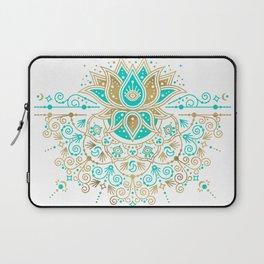 Sacred Lotus Mandala – Turquoise & Gold Palette Laptop Sleeve