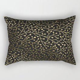 Gold Berry Branches on Black Rectangular Pillow