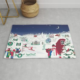 Christmas carolers in the country Rug