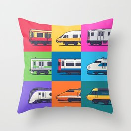 World Trains Grid Pattern Throw Pillow