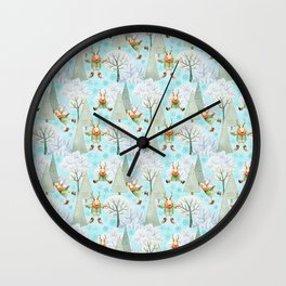 Blue Christmas - From ice skating deers Wall Clock