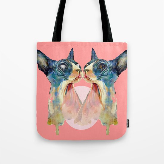 cat, pink Tote Bag