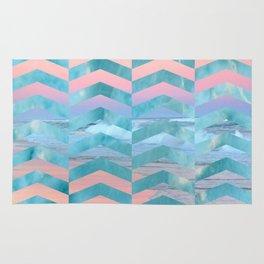 Seafoam Sunset -Wide Chevrons Rug