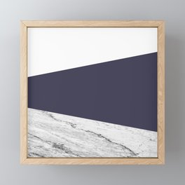 Marble Eclipse blue Geometry Framed Mini Art Print