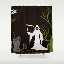 Grim Reaper Cemetary Shower Curtain