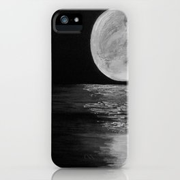 Moonlit. Sunset, water, moon, full moon, orginal painting by Jodilynpaintings. Black and white iPhone Case