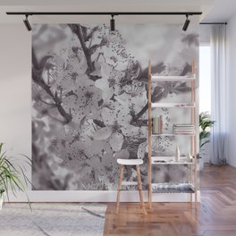 Sour Cherry Tree Black And White Wall Mural