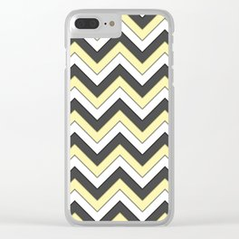 Black Yellow and White Chevrons Clear iPhone Case