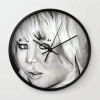 jennifer lawrence Wall Clocks featuring Jennifer Lawrence by Papa-Paparazzi