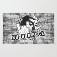 rock and roll Area & Throw Rugs featuring BUDDHA Rock & Roll ! by Nirvana.K