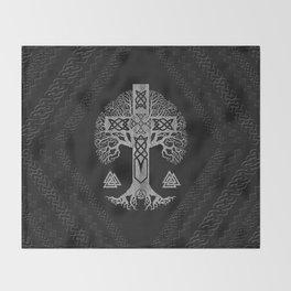 Tree of life  -Yggdrasil  and Celtic Cross Throw Blanket
