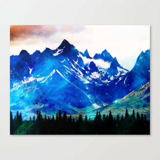 Galaxy Mountain V2 #society6 #decor #buyart Canvas Print