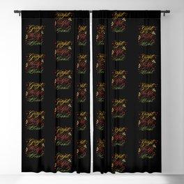 Grateful, Thankful, Blessed Design on Black Blackout Curtain