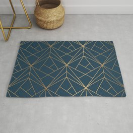 Benjamin Moore Hidden Sapphire Gold Geometric Pattern With White Shimmer Rug