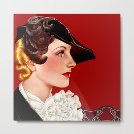 Art Deco Red Metal Print