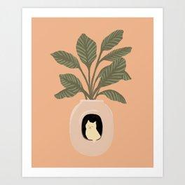Hidden cat 11 penthouse plants house Art Print