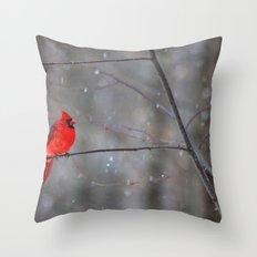 Cardinal In the Snow Throw Pillow
