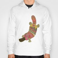 platypus Hoodies featuring duck-billed platypus turquoise by Sharon Turner
