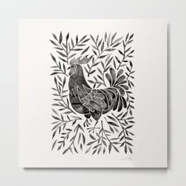 Le Coq – Watercolor Rooster with Black Leaves Metal Print