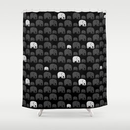 Elephant Black Shower Curtain