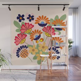 Fantasy summer flowers, vector illustration Wall Mural