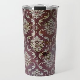 Vintage Antique Eggplant-Colored Wallpaper Pattern Travel Mug