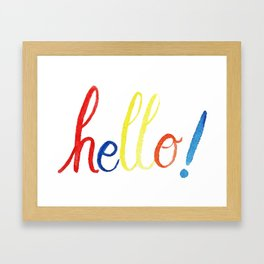 Hello Callygraphy design by #MahsaWatercolor Framed Art Print