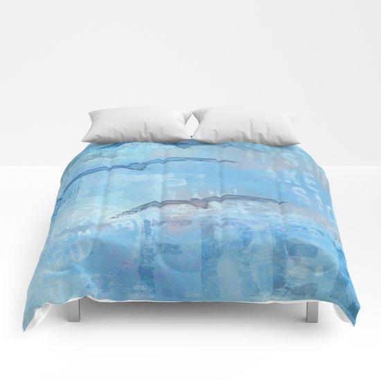 Free sea gull blue mixed media art Comforters