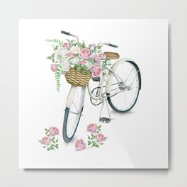 Vintage White Bicycle with English Roses Metal Print
