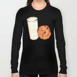 Milk & Cookies Pattern - Red Long Sleeve T-shirt