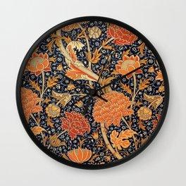 William Morris Orange Cray Floral Art Nouveau Wall Clock