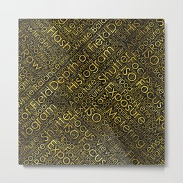 Photography Terms Word Cloud Pattern Gold on Black Metal Print