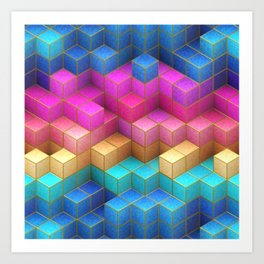 Cubed Rainbow Art Print