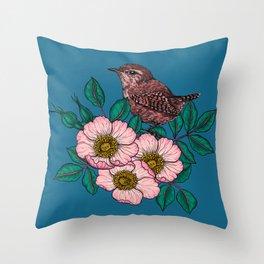 Wren and dog rose bouquet Throw Pillow