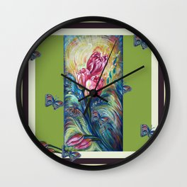 Tulips and Butterflies Wall Clock