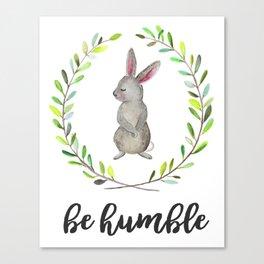 Woodland Creature Animal Tribal Nursery Bunny Baby Art Wall Decor Print Be Humble Rabbit Watercolor Canvas Print