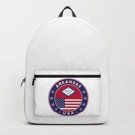 Arkansas, Arkansas t-shirt, Arkansas sticker, circle, Arkansas flag, white bg Backpack