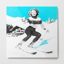 Snow Bunny Pin Up Girl Turquoise Metal Print