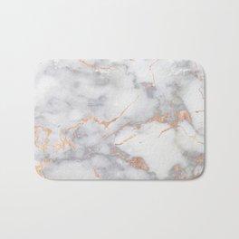 Gray Marble Rosegold  Glitter Pink Metallic Foil Style Bath Mat