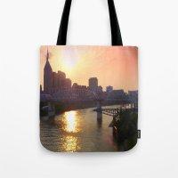 nashville Tote Bags featuring Nashville Dusk by Andooga Design