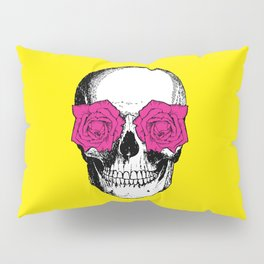 Skull and Roses | Skull and Flowers | Vintage Skull | Yellow and Pink | Pillow Sham