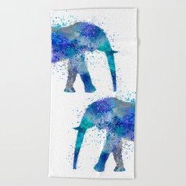 Blue Watercolor Elephant Beach Towel