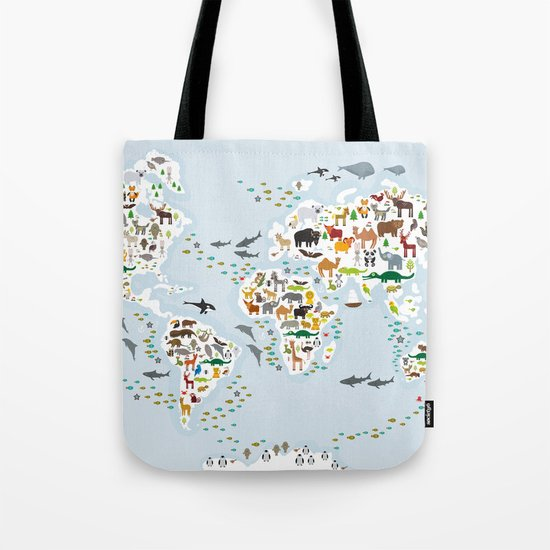 Cartoon animal world map for children and kids, Animals from all over the world, back to school by ekaterinap
