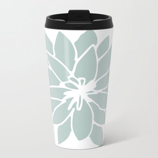 Flower Forest Fern Green on White Metal Travel Mug