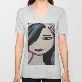 Colorful Girl. Abstract Girl Purple Green.Pop Art by Jodilynpaintings. Figurative Abstract Pop Art. Unisex V-Neck