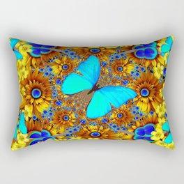 OPULENT YELLOW FLOWERS & BLUE SATIN BUTTERFLY ART Rectangular Pillow