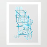 milwaukee Art Prints featuring Milwaukee by linnydrez