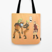 naruto Tote Bags featuring Naruto Science by Solidus