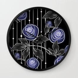 Blue roses on black background Wall Clock