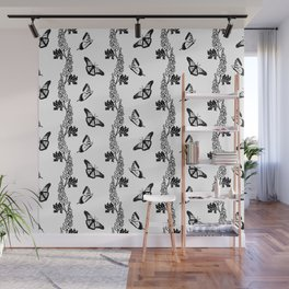 Delphiniums and Butterflies Black and White Wall Mural